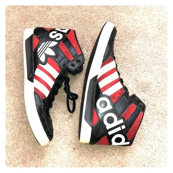 adidas Other - ADIDAS Hightop red black white three stripe life